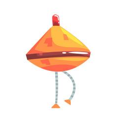 Cute cartoon orange robot cone with legs character vector