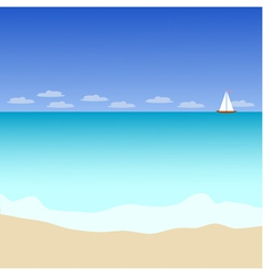 Seascape with yacht vector