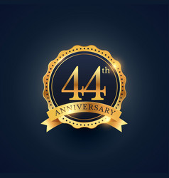 44th anniversary celebration badge label in vector