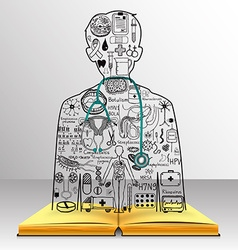 Medicine on book vector
