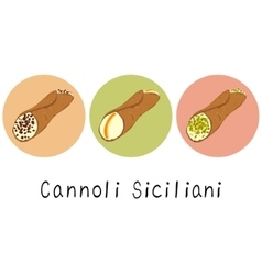 Beautiful cartoon hand drawn set of cannoli vector