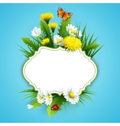 Fresh spring background with grass dandelions and vector