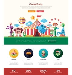 Circus carnival party website header banner with vector image