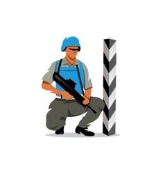 Peacemaker in blue helmet Cartoon vector image