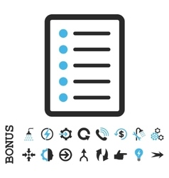 List page flat icon with bonus vector