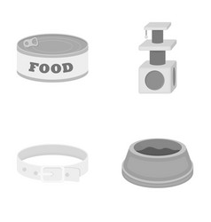 A can of food a house for a cat a bowl of food vector