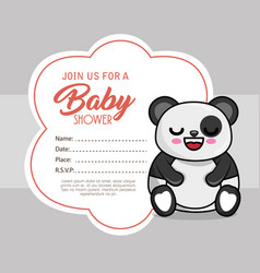 baby shower card with bear panda vector image vector image