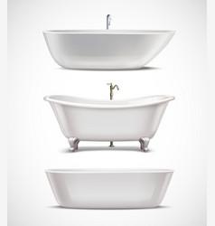 Bathtubs realistic set vector