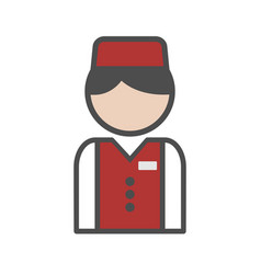 Bellboy icon with red uniform on white background vector