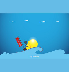 Businessman on the lightbulb boat over the sea vector
