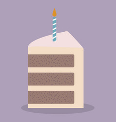 Cake with candle icon vector