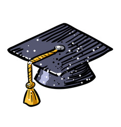cartoon image of graduation cap icon education vector image