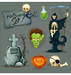 Cartoon scary elemens for Halloween vector image