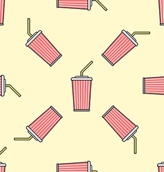 Cola paper cup straw colored seamless pattern vector