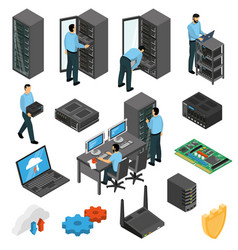 datacenter equipment isometric set vector image vector image