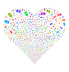 Discount tag fireworks heart vector