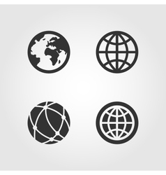 Earth globe icons set flat design vector image vector image