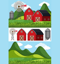 Farm scenes with red barns and windmill vector