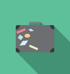 Flat design modern of traveling bag icon with long vector image vector image