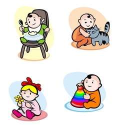 Funny childs in cartoon style vector image