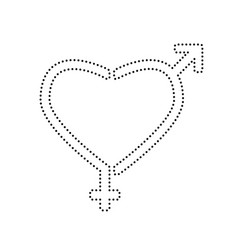 gender signs in heart shape black dotted vector image