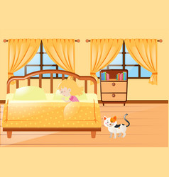 girl sleeping in yellow bedroom vector image