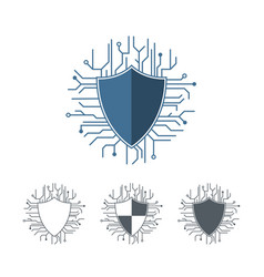 Internet protection logo template microchip lines vector