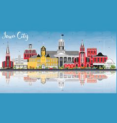 Iowa city skyline with color buildings blue sky vector