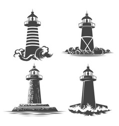 lighthouse emblem set vector image