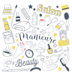 manicure and pedicure freehand doodle beauty vector image vector image