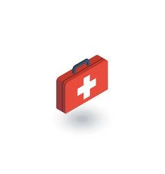 Medicine chest isometric flat icon 3d vector