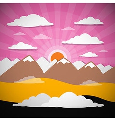 Nature Abstract Mountains with Clouds Sun Set - Ri vector image vector image
