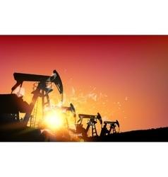 Oil field over sunset vector