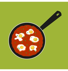 Pan with shakshouka vector