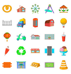 place icons set cartoon style vector image