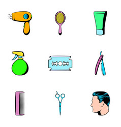 Salon icons set cartoon style vector