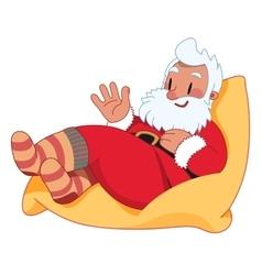 Santa claus on the bean bag vector