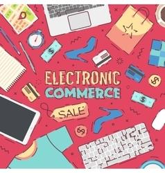 Se flat office online shopping e-commerce vector