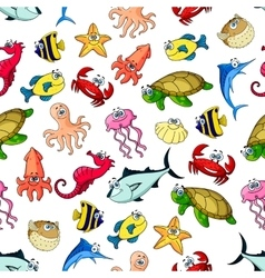 Sea ocean animals fish seamless cartoon pattern vector image vector image