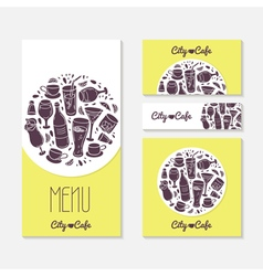 Set of identify cards templates with doodle drinks vector
