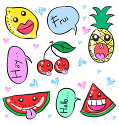 smile character fruit doodle style vector image