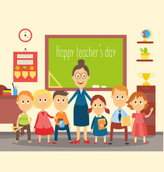 teacher and students pupils in the classroom vector image vector image
