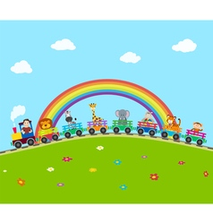 Train with animals vector