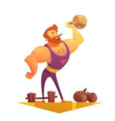 Traveling Circus Strongman Cartoon Retro Icon vector image vector image