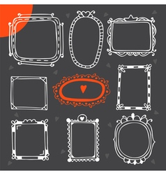 Vintage photo frames Set of hand drawn design vector image