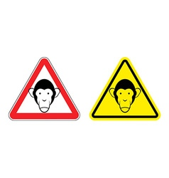 Warning sign attention monkey Hazard yellow sign vector image vector image