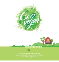 Words GO VEGAN in simple and cute frame with green vector image vector image
