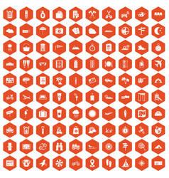 100 tourist trip icons hexagon orange vector