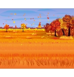 Autumn nature landscape with forest and field vector