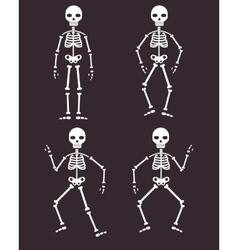 Halloween poster skeletons dancing banner or vector